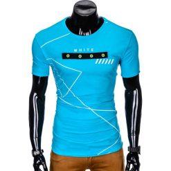 T-SHIRT MĘSKI Z NADRUKIEM S982 - TURKUSOWY. Czarne t-shirty męskie z nadrukiem marki Ombre Clothing, m, z bawełny, z kapturem. Za 29,00 zł.