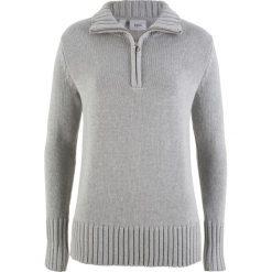 Sweter z zamkiem bonprix jasnoszary melanż. Szare swetry klasyczne damskie marki bonprix. Za 49,99 zł.