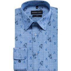 Koszula SIMONE KDWS000293. Niebieskie koszule męskie na spinki Giacomo Conti, m, w kwiaty, z tkaniny, z klasycznym kołnierzykiem, z długim rękawem. Za 169,00 zł.