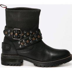 Pepe Jeans - Botki. Czarne buty zimowe damskie Pepe Jeans, z jeansu, z okrągłym noskiem. W wyprzedaży za 359,90 zł.
