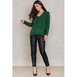 Swetry damskie: NA-KD Sweter z dzianiny na plecach - Green