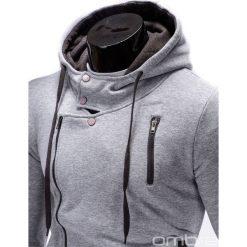 BLUZA MĘSKA ROZPINANA Z KAPTUREM B297 - SZARA. Szare bluzy asymetryczne męskie marki Ombre Clothing, m, z bawełny, z kapturem. Za 89,00 zł.