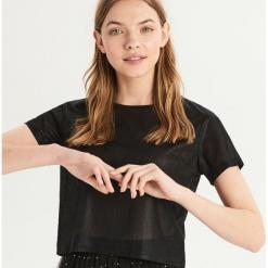 T-shirt z błyszczącą fakturą - Czarny. Czarne t-shirty damskie Sinsay, l. Za 29,99 zł.