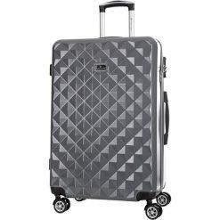 Walizka w kolorze szarym - 39 l. Szare walizki marki Platinium, z materiału. W wyprzedaży za 199,95 zł.