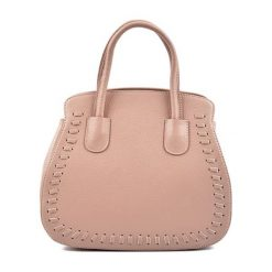Torebki klasyczne damskie: Skórzana torebka w kolorze pudrowym – (S)29 x (W)26 x (G)13,5 cm