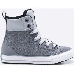 Converse - Trampki dziecięce. Szare buty sportowe chłopięce Converse, z materiału, na sznurówki. W wyprzedaży za 199,90 zł.