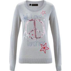 Sweter z cekinami bonprix jasnoszary melanż z kolorowym nadrukiem. Szare swetry klasyczne damskie marki bonprix. Za 79,99 zł.