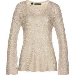 Swetry klasyczne damskie: Sweter bonprix beżowy