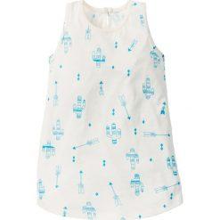 Sukienki dziewczęce: Sukienka dżersejowa bonprix biel wełny – błękit laguny z nadrukiem