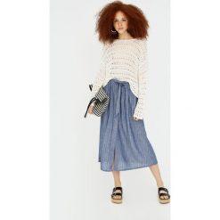 Spódniczki: Spódnica midi z tkaniny chambray w paski