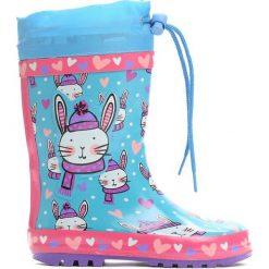 Niebieskie Kalosze Jumping Bunny. Niebieskie kalosze chłopięce marki Hunter, z materiału. Za 39,99 zł.