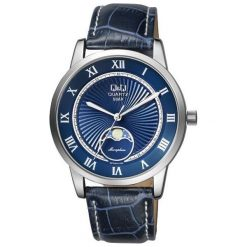 Zegarek Q&Q Męski z fazami księżyca  QZ10-318 Klasyczny granatowy. Niebieskie zegarki męskie Q&Q. Za 179,00 zł.