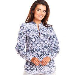 Wzorzysta Elegancka Koszulowa Bluzka  w Romby na Stójce. Szare bluzki koszulowe Molly.pl, l, z materiału, eleganckie, z długim rękawem. Za 106,90 zł.