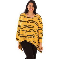 T-shirty damskie: Lniana koszulka w kolorze żółto-antracytowym