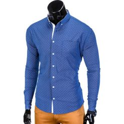 KOSZULA MĘSKA Z DŁUGIM RĘKAWEM K388 - GRANATOWA. Brązowe koszule męskie na spinki marki Ombre Clothing, m, z aplikacjami, z kontrastowym kołnierzykiem, z długim rękawem. Za 49,00 zł.