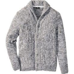 Sweter rozpinany w warkocze Regular Fit bonprix szary melanż. Szare kardigany męskie marki bonprix, m, melanż. Za 44,99 zł.