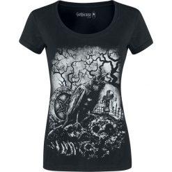 Gothicana by EMP Keep Me Going Koszulka damska czarny. Czarne bluzki z odkrytymi ramionami Gothicana by EMP, l, z nadrukiem, z okrągłym kołnierzem, z krótkim rękawem. Za 79,90 zł.