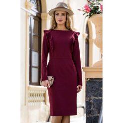 Ołówkowa Sukienka z Falbankami przy Rękawach- Bordowa. Czerwone sukienki balowe marki Molly.pl, do pracy, l, z falbankami, z długim rękawem, midi, ołówkowe. Za 138,90 zł.