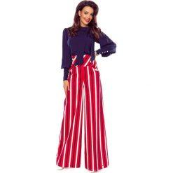 Spodnie damskie: Eleganckie spodnie z wysokim stanem czerwone w biało granatowe pasy