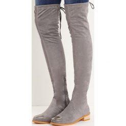 Szare Kozaki Entry Point. Szare buty zimowe damskie marki Born2be, z materiału, z okrągłym noskiem, na obcasie. Za 84,99 zł.