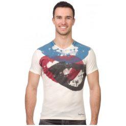 Pepe Jeans T-Shirt Męski Smile Xl Kremowy. Białe t-shirty męskie marki Pepe Jeans, m, z jeansu. W wyprzedaży za 119,00 zł.