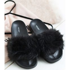 Chodaki damskie: Czarne Klapki Hirsute