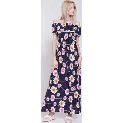 Sukienki: Granatowa Sukienka Flowers Flies