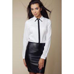 Długie spódnice: Elegancka Koszula z Kontrastową Lamówką - Biały