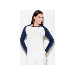 Bluzka K108 Granat. Niebieskie bluzki damskie KATRUS, s, z dzianiny, z kontrastowym kołnierzykiem. Za 69,00 zł.