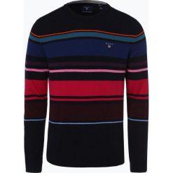 Gant - Sweter męski, niebieski. Niebieskie swetry klasyczne męskie GANT, m, z haftami, z wełny, z okrągłym kołnierzem. Za 649,95 zł.
