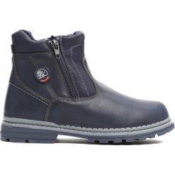 Granatowe Traperki Big-City. Niebieskie buty zimowe chłopięce Born2be, z materiału, z okrągłym noskiem, na zamek. Za 79,99 zł.