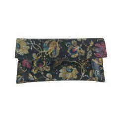 Puzderka: Skórzana kopertówka w kolorze czarnym ze wzorem – (S)29 x (W)13 cm