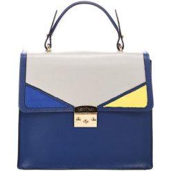 Torebki klasyczne damskie: Skórzana torebka w kolorze niebieskim – (S)30 x (W)37 x (G)12 cm