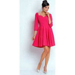 Odzież damska: Różowa Kobieca Rozkloszowana Sukienka z Dekoltem w Serce