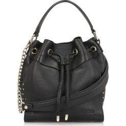 Czarna torebka na ramię damska. Niebieskie torebki klasyczne damskie marki Kazar, w paski, ze skóry, przez ramię, zdobione. Za 799,00 zł.
