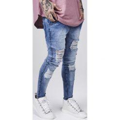 Jeansy męskie regular: SIKSILK DISTRESSED Jeans Skinny Fit blue acid wash
