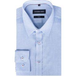 Koszula SIMONE Slim KDWS000311. Niebieskie koszule męskie na spinki Giacomo Conti, m, z tkaniny, z klasycznym kołnierzykiem, z długim rękawem. Za 229,00 zł.