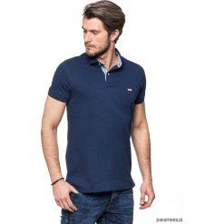 Koszulki męskie: Koszulka polo granatowa z kratką
