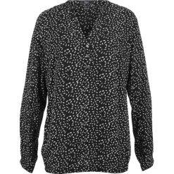 Bluzki damskie: Bluzka, długi rękaw bonprix czarno-biały z nadrukiem