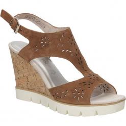 Sandały brązowe ażurowe Marco Tozzi 2-28354-28. Brązowe sandały damskie marki Marco Tozzi, w ażurowe wzory. Za 148,99 zł.