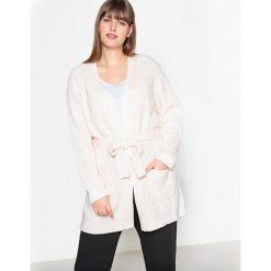 Długi sweter rozpinany, wiązany w pasie. Szare kardigany damskie marki La Redoute Collections, m, z bawełny, z kapturem. Za 214,58 zł.