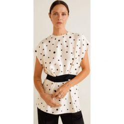 Mango - Bluzka Corda. Szare bluzki wizytowe marki Mango, l, z aplikacjami, z bawełny, eleganckie, z okrągłym kołnierzem. Za 199,90 zł.