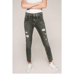 Calvin Klein Jeans - Jeansy. Szare rurki damskie Calvin Klein Jeans, z bawełny, z podwyższonym stanem. W wyprzedaży za 449,90 zł.
