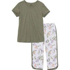 Piżamy damskie: Piżama ze spodniami 3/4 bonprix oliwkowo-biały z nadrukiem