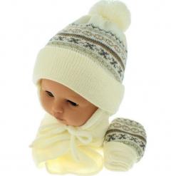 Czapka niemowlęca z szalikiem i rękawiczkami CZ+S+R 013E. Brązowe czapeczki niemowlęce Proman. Za 45,90 zł.