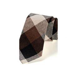 Krawat męski AMES len. Brązowe krawaty męskie HisOutfit, ze lnu. Za 129,00 zł.