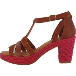 """Rzymianki damskie: Skórzane sandały """"Coconut"""" w kolorze brązowo-różowym"""