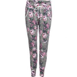 Spodnie dresowe damskie: Spodnie dresowe bonprix szaro-bez w kwiaty