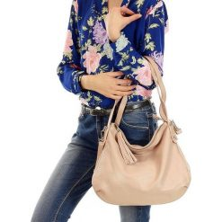 AMANDA - skórzana wygodna torebka Pudrowy róż. Czerwone torebki klasyczne damskie FURRINI, ze skóry. Za 249,00 zł.