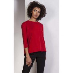 Czerwona Pudełkowa Bluzka z Wydłużonym Tyłem. Czerwone bluzki longsleeves Molly.pl, l, z jeansu. Za 118,90 zł.